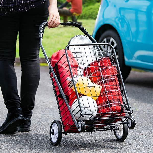ショッピングカート 折りたたみ 4輪 大容量 おしゃれ シンプル キャリーカート ( ワイヤーカート スチール製 ワイヤー カート 買い物カート ショッピング ) colorfulbox 06