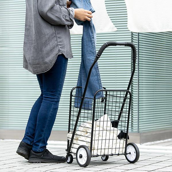 ショッピングカート 折りたたみ 4輪 大容量 おしゃれ シンプル キャリーカート ( ワイヤーカート スチール製 ワイヤー カート 買い物カート ショッピング ) colorfulbox 07