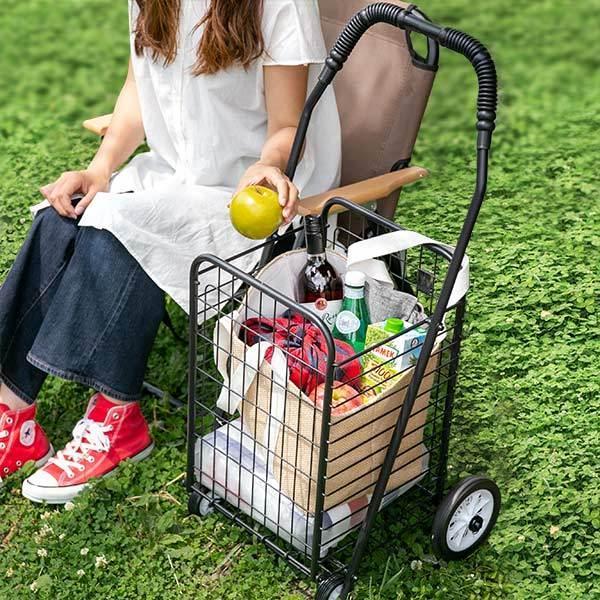 ショッピングカート 折りたたみ 4輪 大容量 おしゃれ シンプル キャリーカート ( ワイヤーカート スチール製 ワイヤー カート 買い物カート ショッピング ) colorfulbox 09