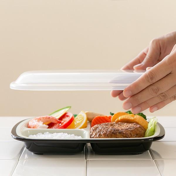 ランチプレート プラスチック 食器 フタ付きランチプレート 角型 楽弁 仕切り付き プラスチック製 ( 電子レンジ対応 食洗機対応 家弁 仕切り皿 )|colorfulbox|11