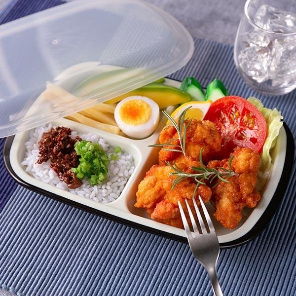 ランチプレート プラスチック 食器 フタ付きランチプレート 角型 楽弁 仕切り付き プラスチック製 ( 電子レンジ対応 食洗機対応 家弁 仕切り皿 )|colorfulbox|18