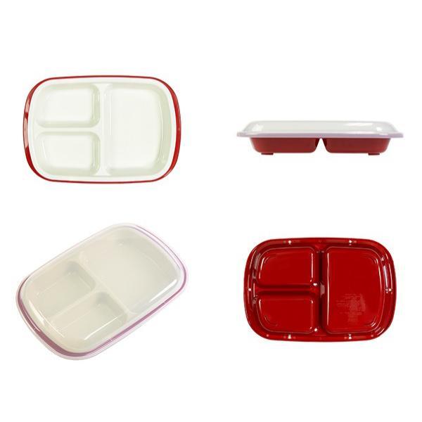 ランチプレート プラスチック 食器 フタ付きランチプレート 角型 楽弁 仕切り付き プラスチック製 ( 電子レンジ対応 食洗機対応 家弁 仕切り皿 )|colorfulbox|03