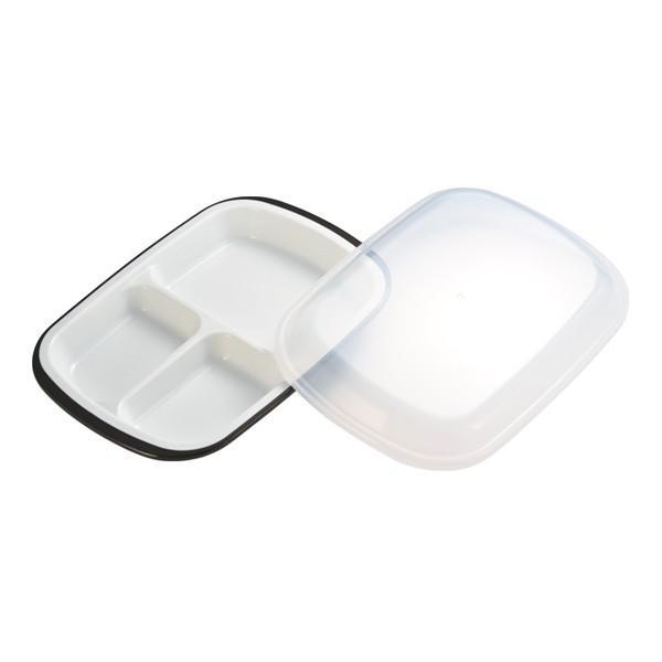 ランチプレート プラスチック 食器 フタ付きランチプレート 角型 楽弁 仕切り付き プラスチック製 ( 電子レンジ対応 食洗機対応 家弁 仕切り皿 )|colorfulbox|06