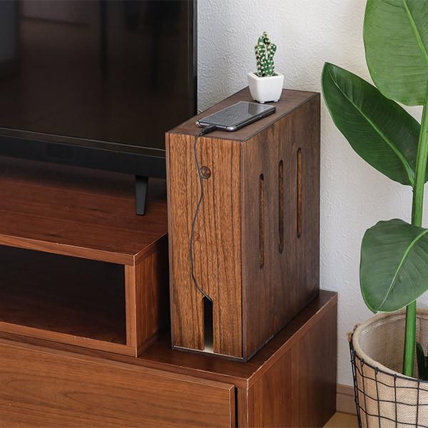 ケーブルボックス 木製 ルーター 収納 タップ コンセント収納 ( ルーター収納ボックス ケーブル コンセント モデム ルーター収納 ) colorfulbox 17