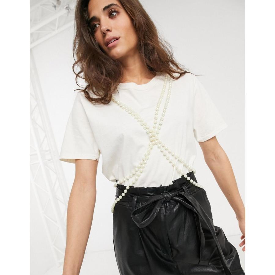 【年間ランキング6年連続受賞】 ミルクイット Tシャツ レディース Milk It vintage tshirt with double pearl string trim エイソス ASOS ホワイト 白, 上磯町 24d48a38