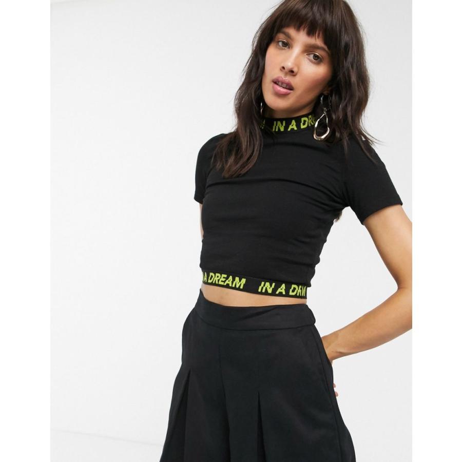 [定休日以外毎日出荷中] ドクターデニム Tシャツ レディース Dr Denim in a dream slogan mockneck crop t-shirt エイソス ASOS ブラック 黒, キャンディコムウェア d6fd4559