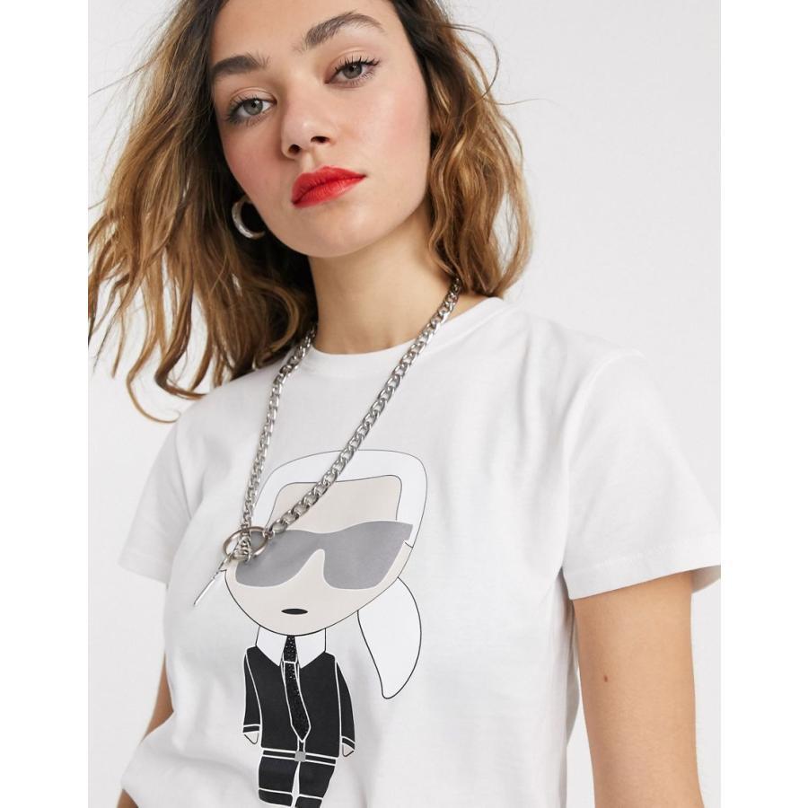 超人気高品質 カールラガーフェルド Tシャツ レディース Karl Lagerfeld ikonik karl t-shirt エイソス ASOS ホワイト 白, 人気ブラドン c9fdba2e