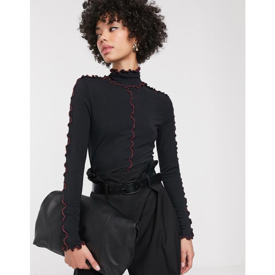 【高知インター店】 シモネット Tシャツ レディース Simonett Squig long sleeve high neck top in black in black エイソス ASOS ブラック 黒, Back to MONO 9341f572