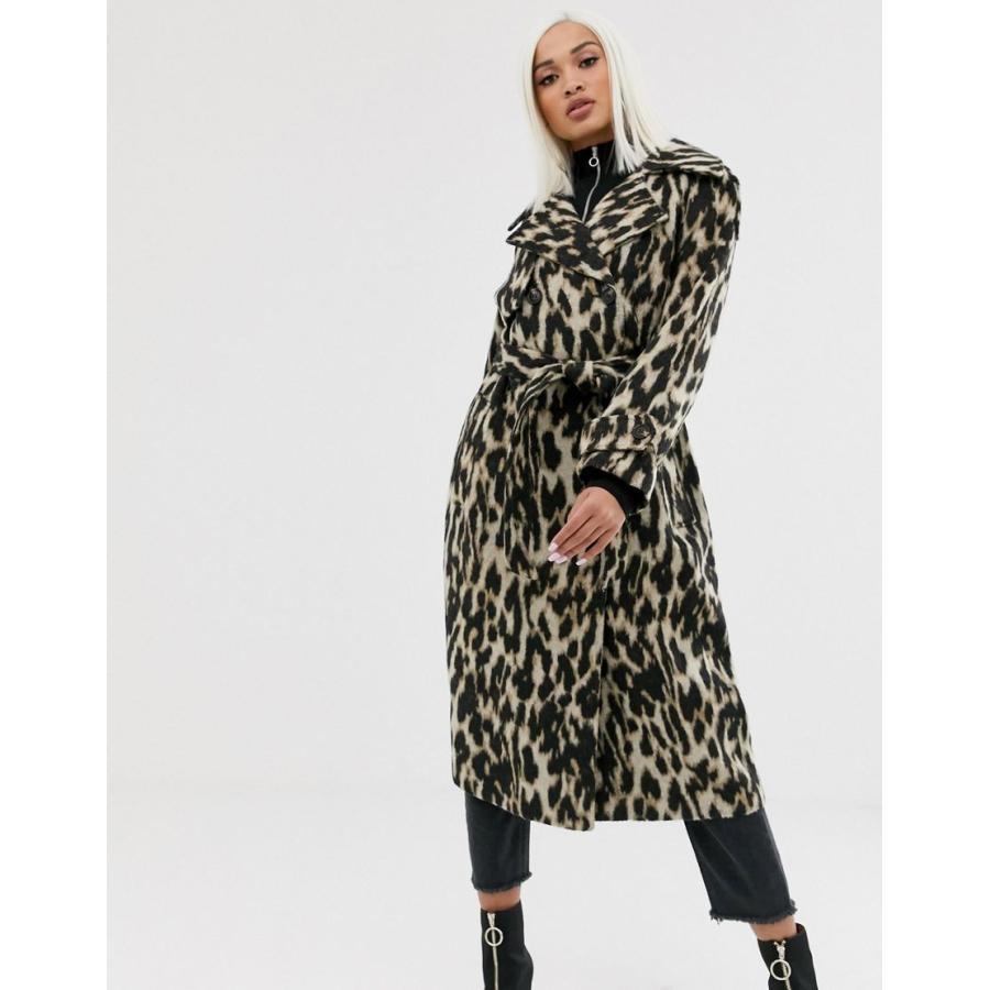 エイソス コート レディース ASOS DESIGN oversized leopard belted coat エイソス ASOS マルチカラー