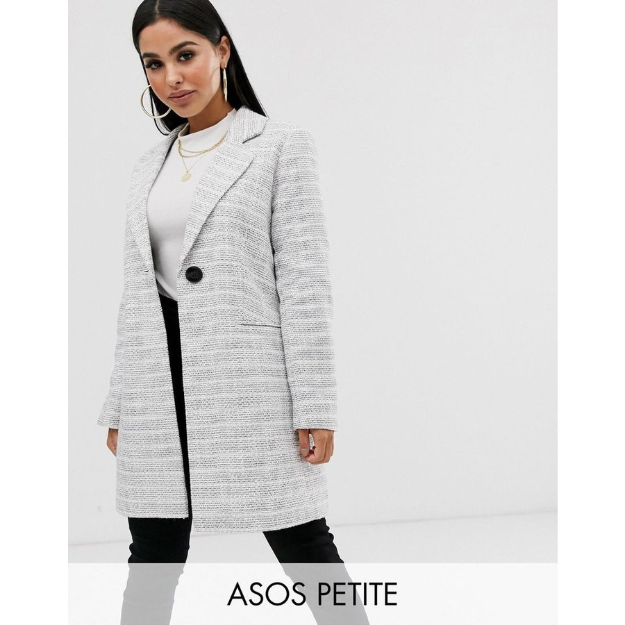 【逸品】 エイソス コート レディース ASOS DESIGN Petite textured coat with button detail エイソス ASOS グレー 灰色, 肌かくしーと 48c1ca7d