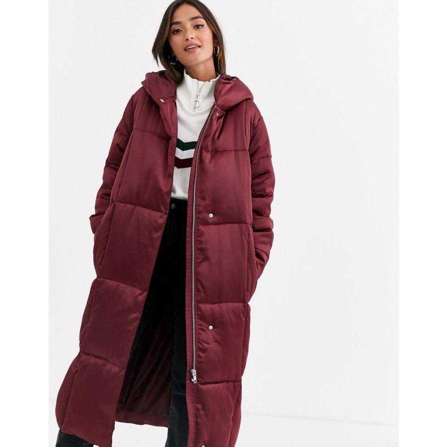 代引き人気 エイソス コート レディース ASOS DESIGN longline puffer coat in oxblood エイソス ASOS, Leaf 暮らしの雑貨店 e7993a3a