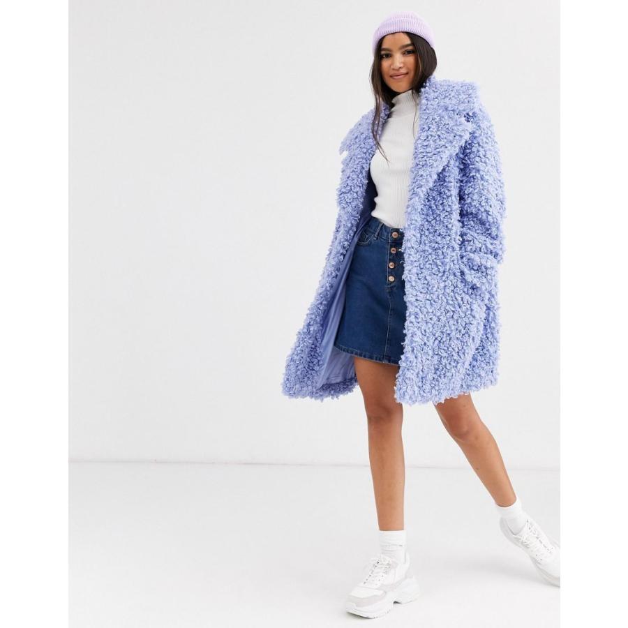 大勧め エイソス コート レディース ASOS DESIGN luxe borg coat in blue エイソス ASOS ブルー 青, notes des mers db343760