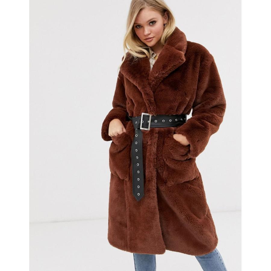 新品 ネオンローズ コート レディース Neon Rose oversized faux fur coat with belt エイソス ASOS, HOMESTYLE 21b7d05c