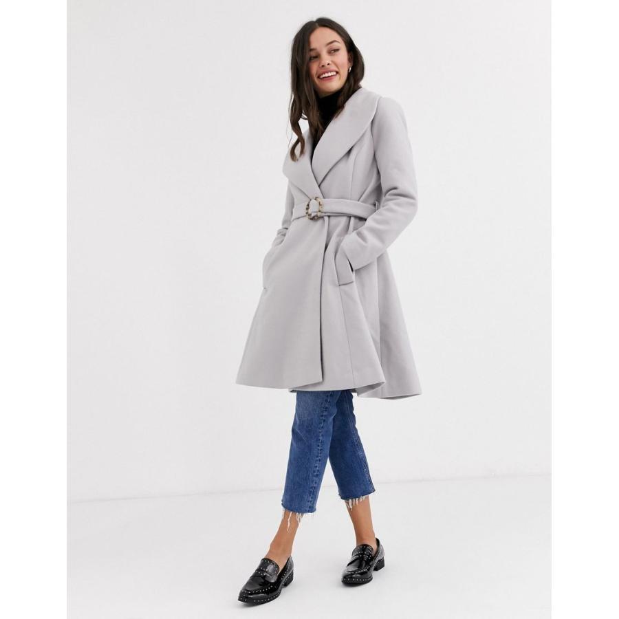 大人気 エイソス コート レディース ASOS DESIGN longline belted skater coat in grey エイソス ASOS グレー 灰色, 健康王国 フアスト c14564f5