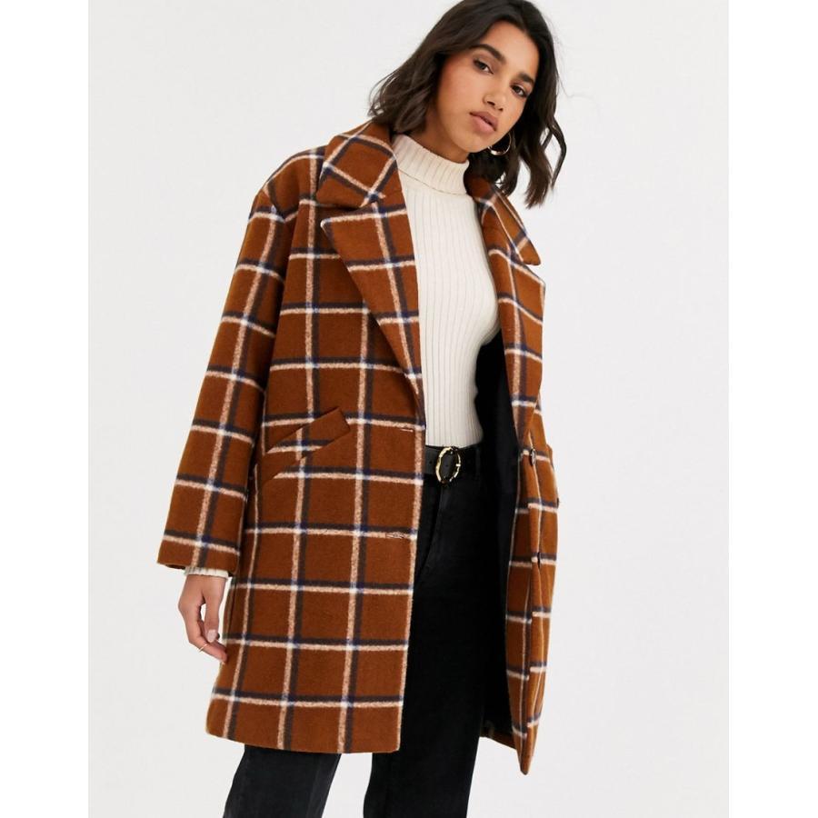 贅沢品 マンゴ コート レディース Mango check mid length coat in brown エイソス ASOS, 玉家のキムチ工房 89a3a039