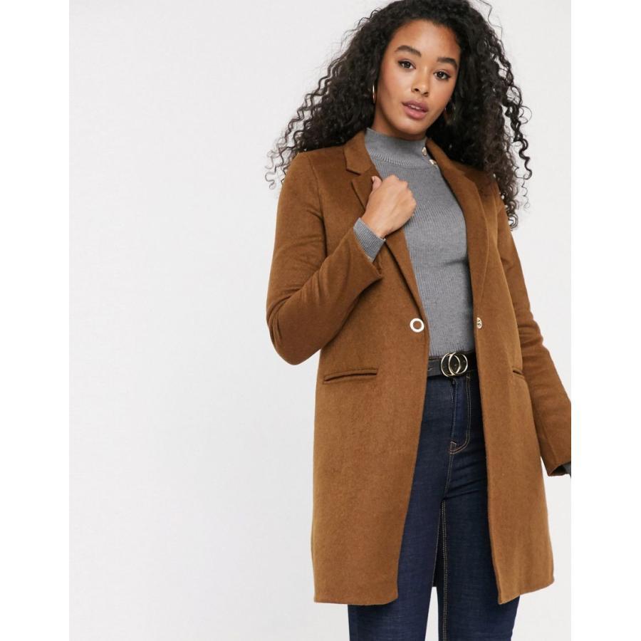 ピンキー コート レディース Pimkie mid length button front coat in 褐色 エイソス ASOS ブラウン 茶