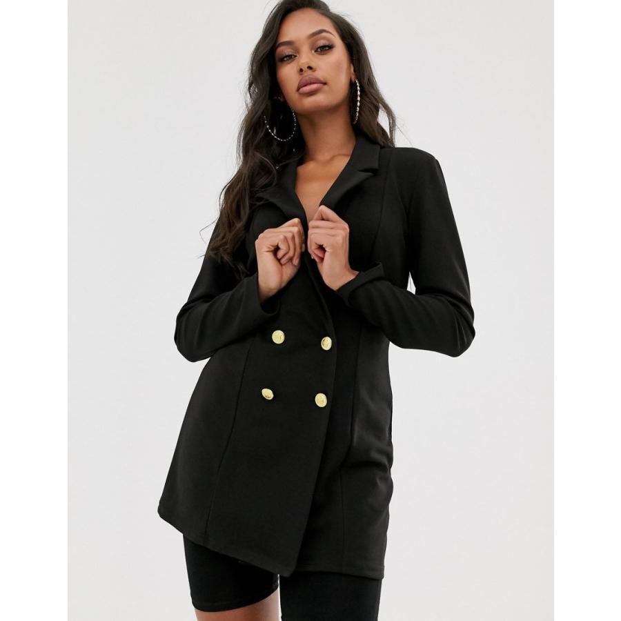 エイソス ジャケット レディース ASOS DESIGN double breasted blazer with military buttons エイソス ASOS ブラック 黒