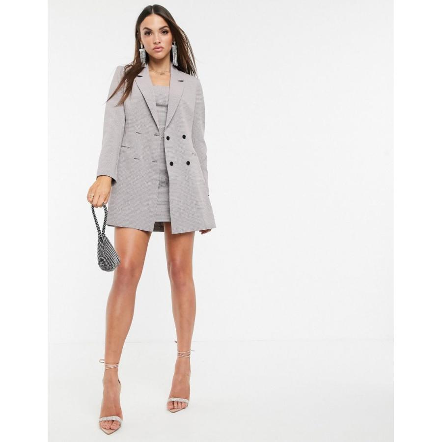 【お得】 ミスガイデッド ジャケット レディース MIX & MATCHMissguided co-ord longline blazer in grey check エイソス ASOS グレー 灰色, ガーデンマート 0df9dcc0
