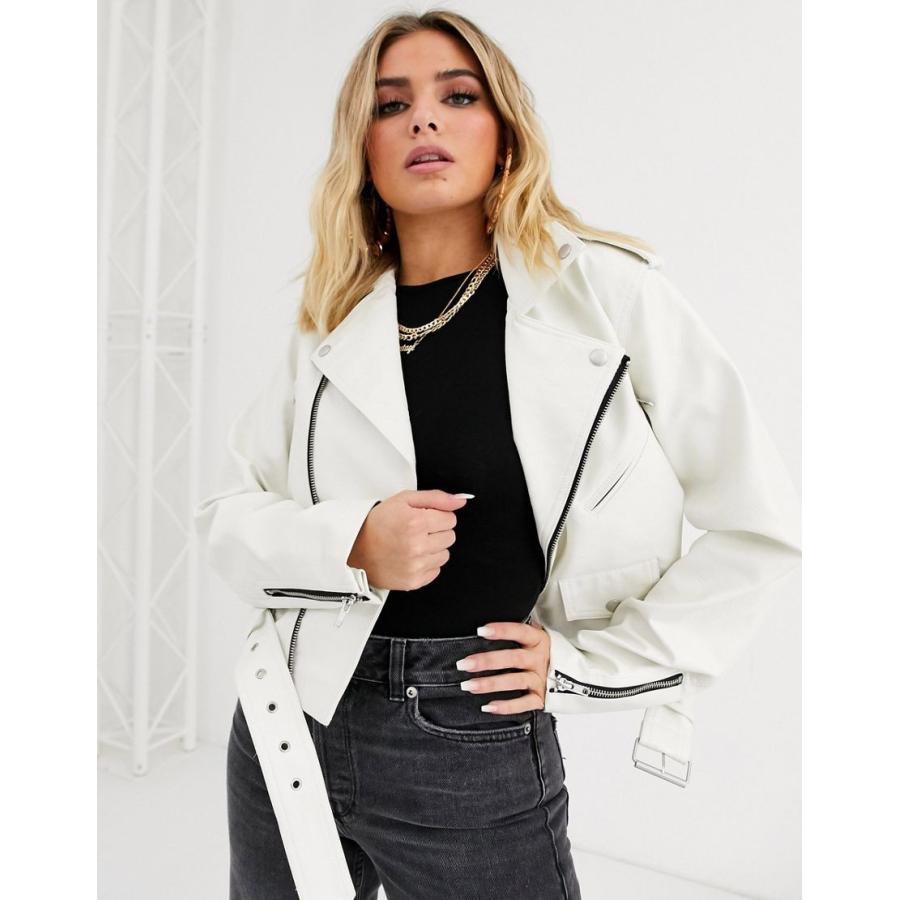 春先取りの エイソス ジャケット レディース ASOS DESIGN white oversize leather look biker jacket エイソス ASOS ホワイト 白, コスメレシピ d829d810