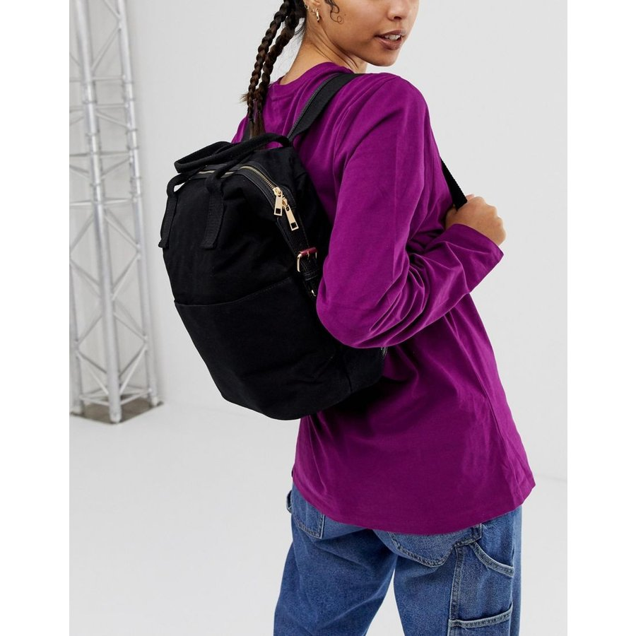 486176e86 ... エイソス リュック レディース ASOS DESIGN zip over canvas backpack with double handle  エイソス ASOS ブラック 黒 ...