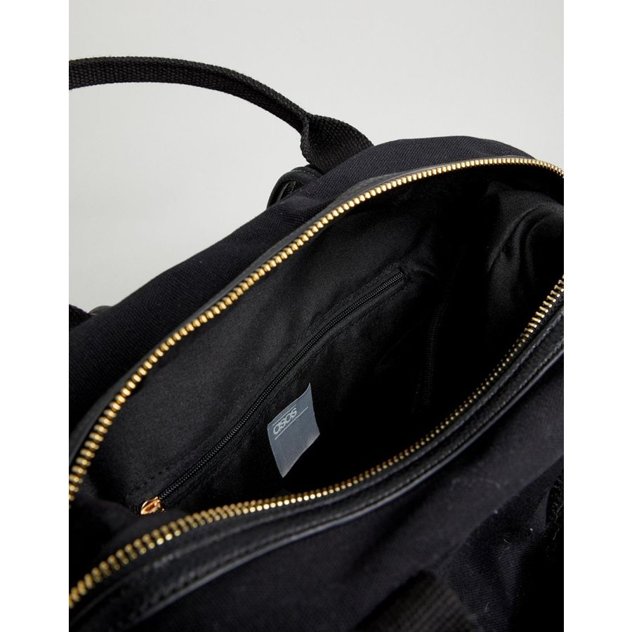 d536cfac6 ... エイソス リュック レディース ASOS DESIGN zip over canvas backpack with double handle  エイソス ASOS ブラック 黒