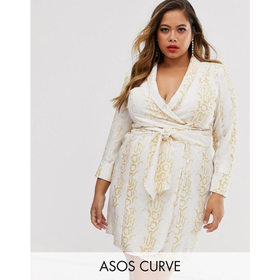 エイソス ドレス 大きいサイズ レディース ASOS DESIGN Curve mini tux dress with self tie belt in snake print エイソス ASOS