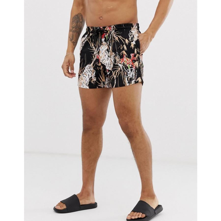 シックシルク 水着 メンズ MIX & MATCHSikSilk co-ord printed swim shorts in 黒 エイソス ASOS ブラック 黒