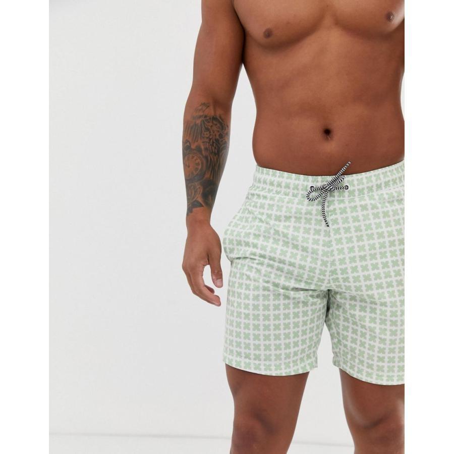 ブレンド 水着 メンズ Blend swimshorts in 緑 cross print エイソス ASOS