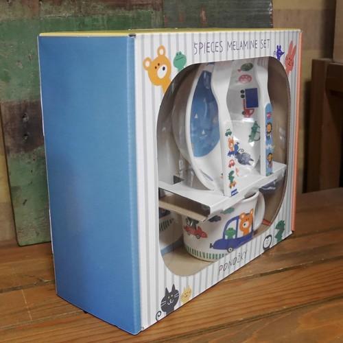 DECOLE デコレ メラミンランチ5pcs ギフトセット PONOZKY ポノシュキー ブルー メラミン食器 colors-kitchen 02