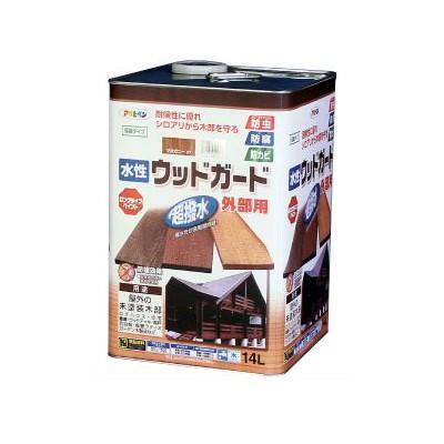 【送料無料】 アサヒペン 水性 ウッドガード外部用 透明(クリヤ) (全6色) [14L] 着色半透明・水性塗料