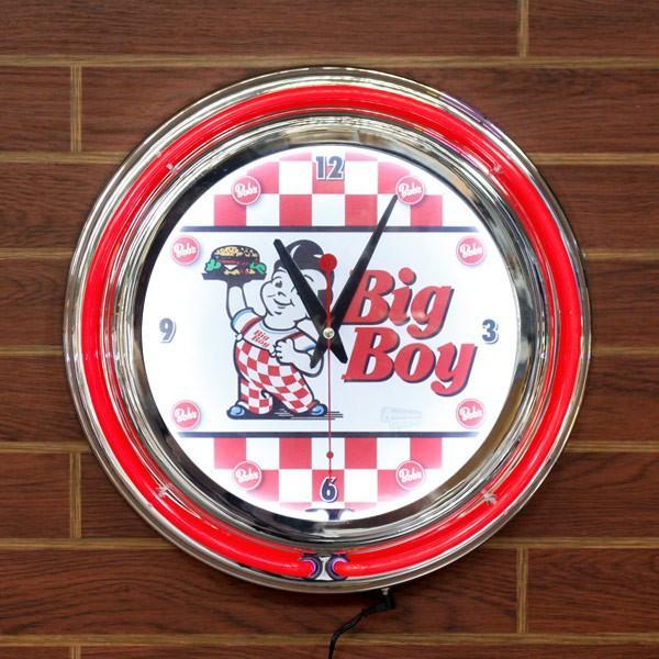 ダブルネオンクロック「ビッグボーイ」(レッド×ホワイト)/BIGBOY/壁掛け時計(ウォールクロック)/インテリア/アメリカン雑貨/
