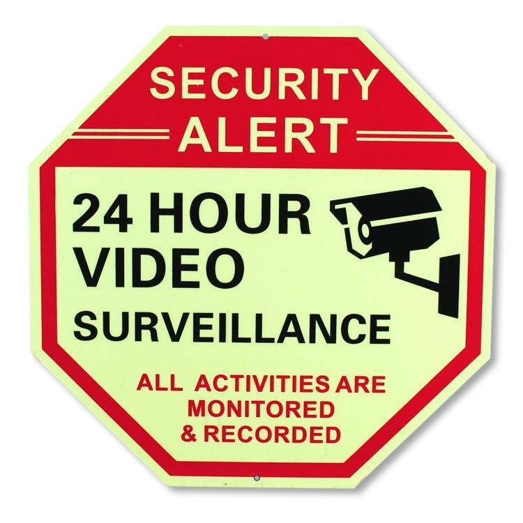 セキュリティサイン 「24 HOUR VIDEO」オクタゴン 縦30×横30cm 蓄光タイプ 防犯 看板 アメリカ雑貨|colour