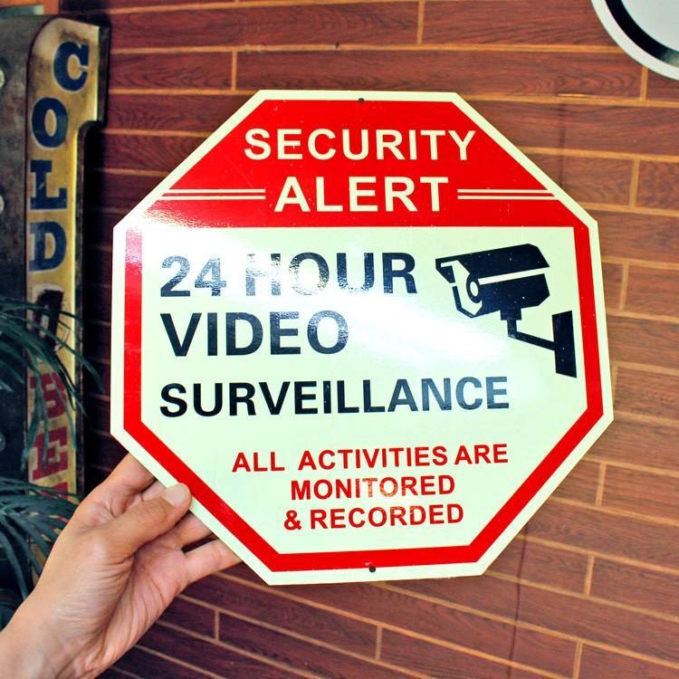 セキュリティサイン 「24 HOUR VIDEO」オクタゴン 縦30×横30cm 蓄光タイプ 防犯 看板 アメリカ雑貨|colour|03