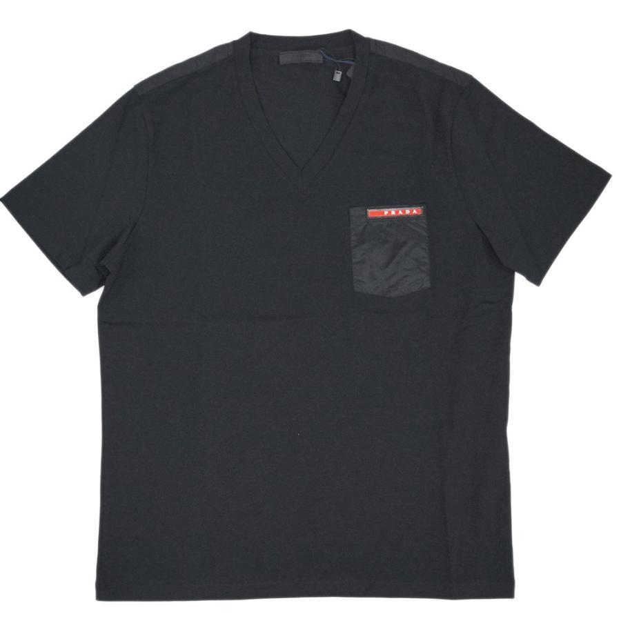 35b836f683d4 プラダ Tシャツ SJM994 メンズ 半袖 Vネック コットンストレッチ NERO ...