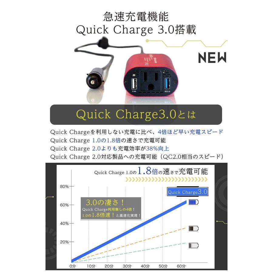 シガーソケット コンセント カー インバーター USB チャージャー 12V 車載 充電器 車中泊グッズ|commers-shop|08