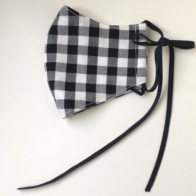 マスク チェック 大人用 布マスク 立体マスク オーガニックコットン レッド/ブラック スウェードリボン 日本製 デザインマスク おしゃれマスク 小顔マスク|conceptstore|05