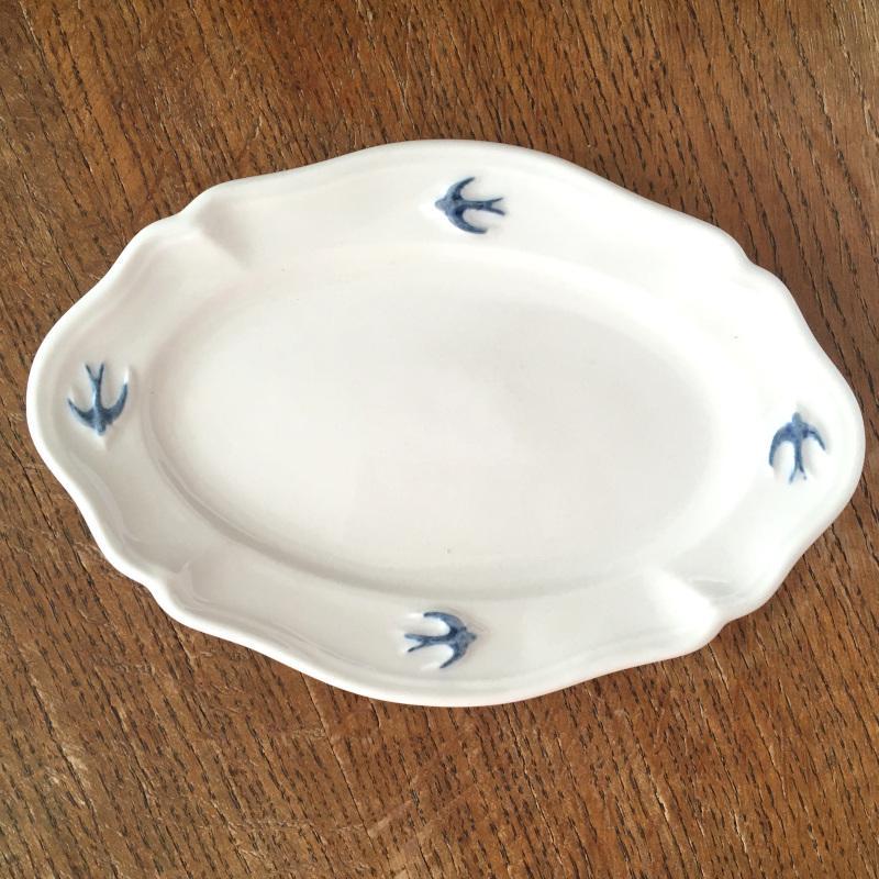 サイドプレート オーバル S ツバメ スタジオM' 食器 皿 スタジオエム アーリーバード 取り皿 ケーキプレート 日本製 陶器 conceptstore