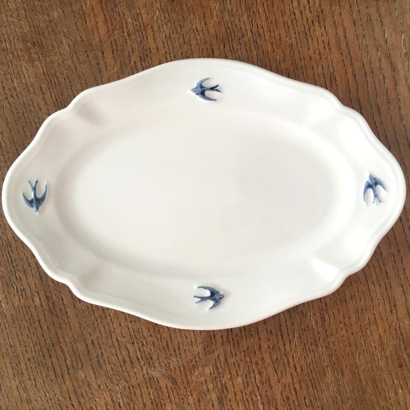 サイドプレート オーバル L ツバメ スタジオM' 食器 皿 スタジオエム アーリーバード 取り皿 ケーキプレート 日本製 陶器|conceptstore