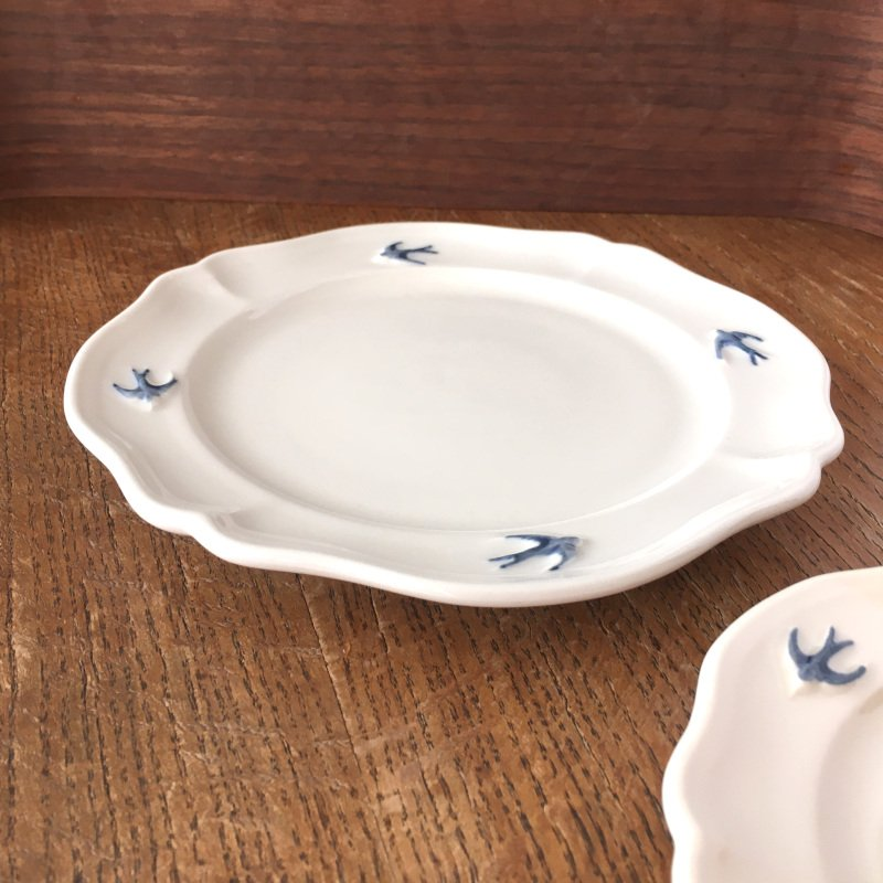 サイドプレート ラウンド S ツバメ スタジオM' 食器 皿 スタジオエム アーリーバード 小鳥 取り皿 ケーキプレート 日本製 陶器|conceptstore|04