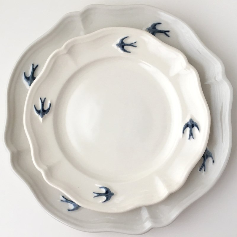 サイドプレート ラウンド S ツバメ スタジオM' 食器 皿 スタジオエム アーリーバード 小鳥 取り皿 ケーキプレート 日本製 陶器|conceptstore|05