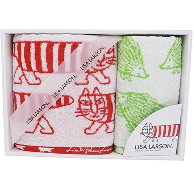 リサラーソン タオルセット 箱入り ウォッシュタオル&フェイスタオル マイキー はりねずみ ねこ lisa larson|conceptstore