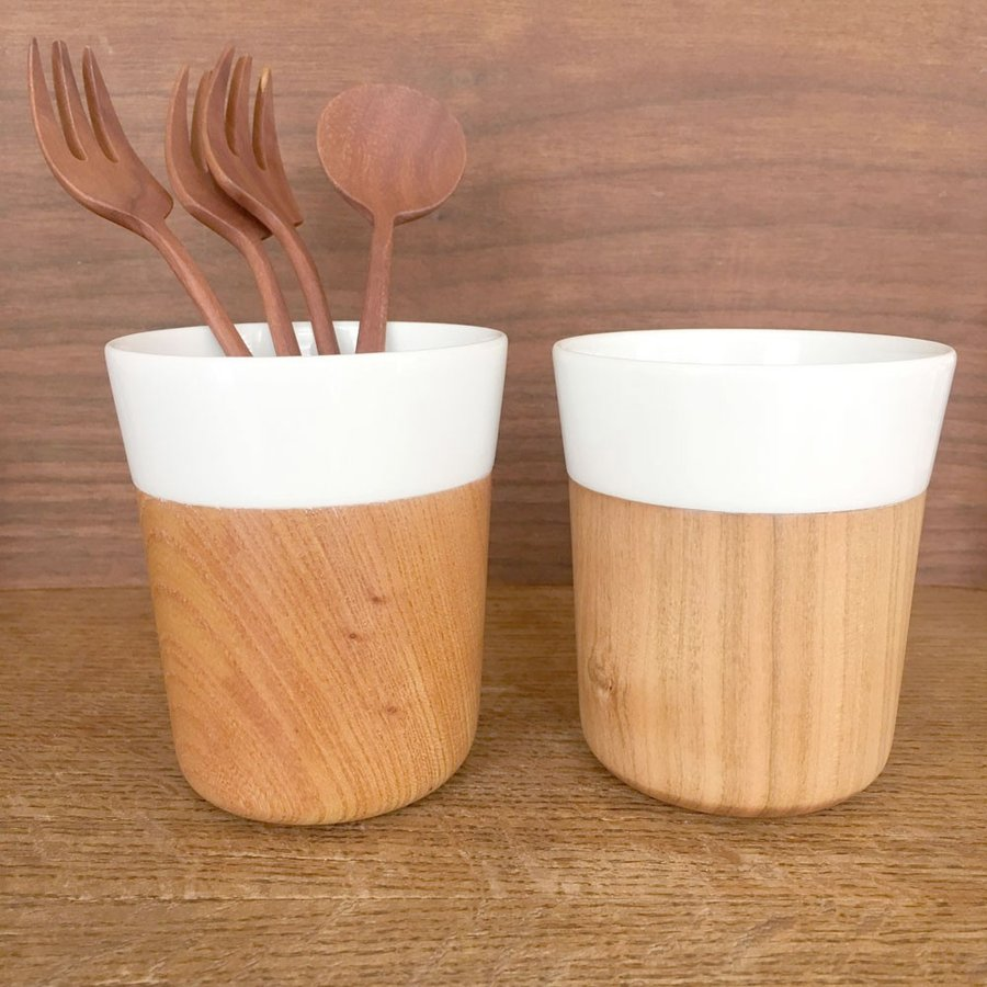 木と陶器のマグカップ 木影 ぬくもりのある木のコップー 欅/山桜 北欧インテリア ナチュラルデザイン 木の食器|conceptstore|07
