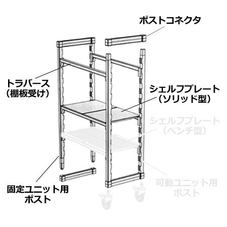 キャンブロ カムシェルビング(エレメンツ)固定式 ソリッド型 4段 1220×360×1830mm(送料無料、代引不可)|cookcook|04