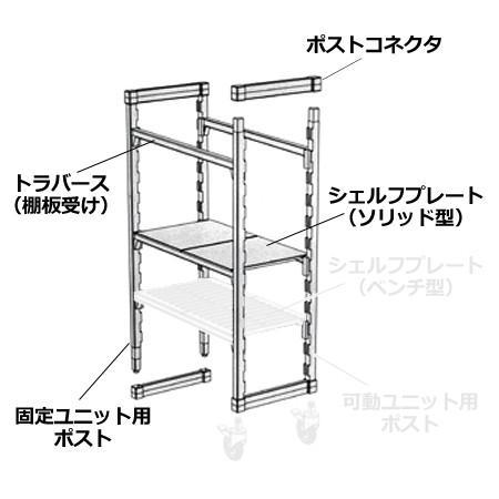 キャンブロ カムシェルビング(エレメンツ)固定式 ソリッド型 4段 1380×360×1630mm(送料無料、代引不可) cookcook 04