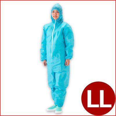 作業用ツナギ SUN96 ディスポカバーオール ブルー LL 不織布製全身つなぎ 工場・業務用 50枚入り