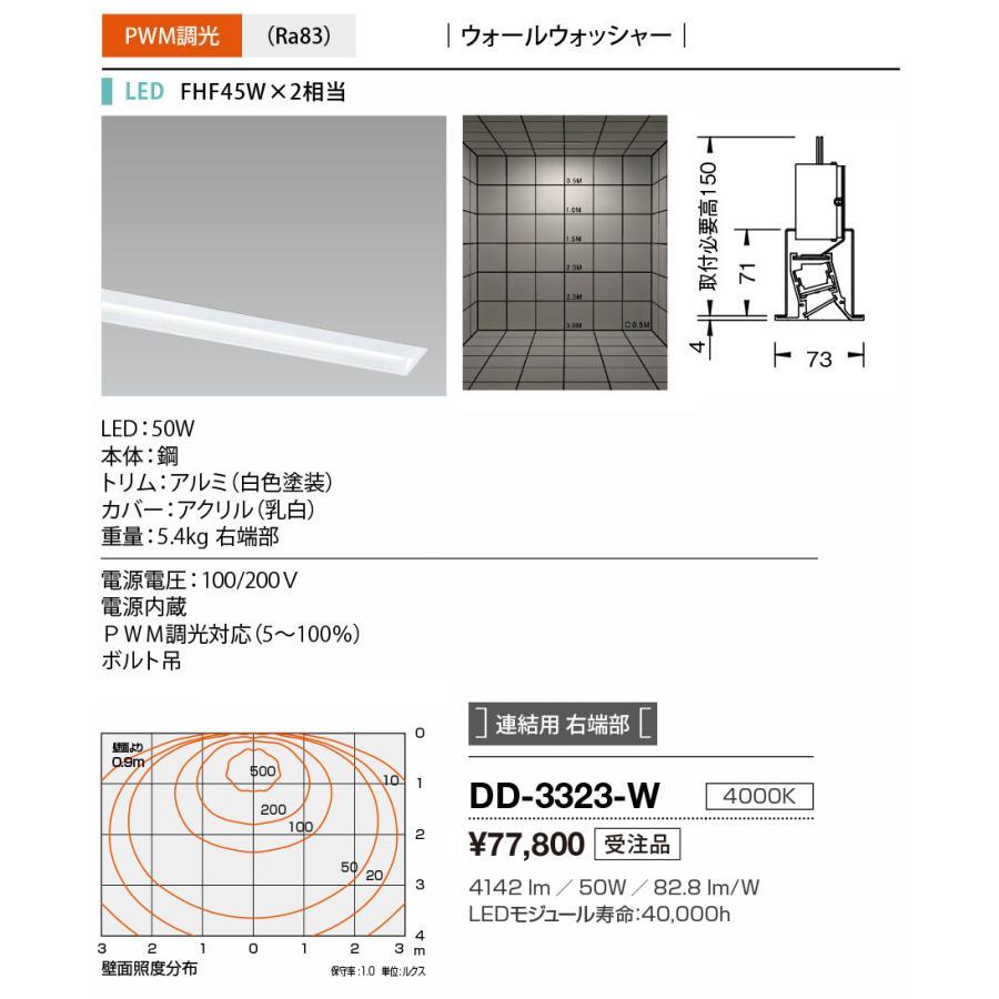 山田照明(YAMADA) DD-3323-W LED一体型ベースライト PWM調光 白色 連結用 右端部 受注生産品 [∽§]