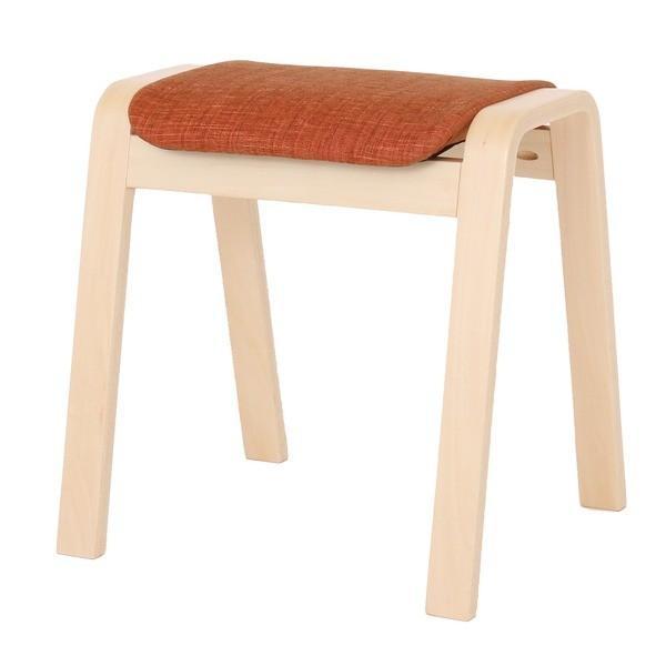 大人気スタッキングスツール/腰掛け椅子 〔同色4脚セット〕 ファブリック木製脚 オレンジ(橙) 〔完成品〕