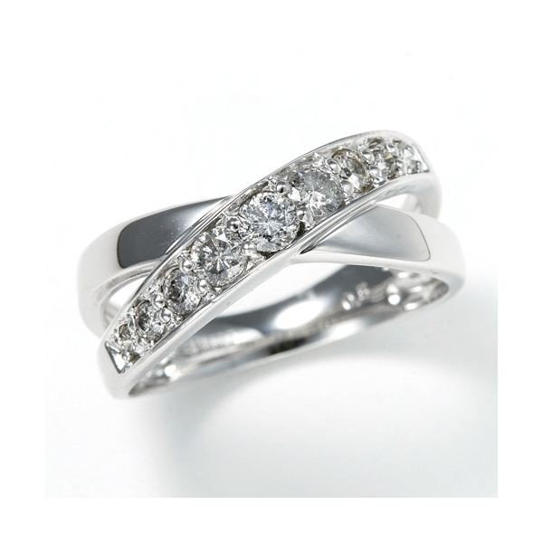 割引 大人気0.5ct ダブルクロスダイヤリング 指輪 エタニティリング 13号, binabino bf683ed0