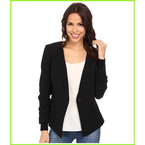 本物の Adrianna Papell Button Jacket w/ Sweater Trim Adrianna Papell Blazers & Jackets WOMEN レディース Black, キタミシ dc2ce7a1