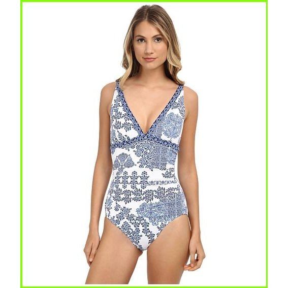 Tommy Bahama Stamped Medallion Over the Shoulder V-Neck Cup One-Piece トミー バハマ One Piece Swimsuits WOMEN レディース Blue Zaffiro/White